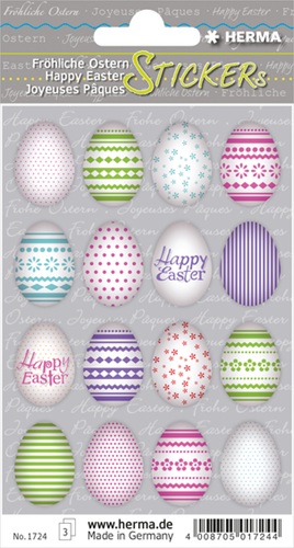 Herma 1724 Sticker Vrolijk Pasen - Gekleurde Eieren