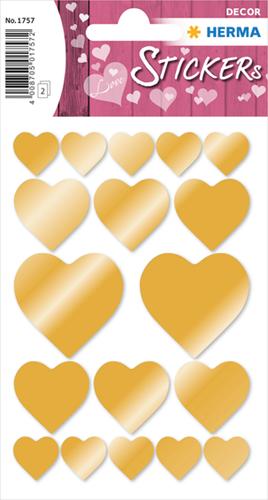 Herma 1757 Sticker Hartjes Goud