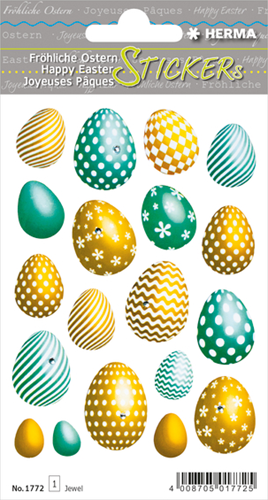 Herma 1772 Sticker Vrolijk Pasen - Gouden Eieren