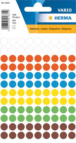 Herma 1831 Universele Etiketten Ø8 - Kleur