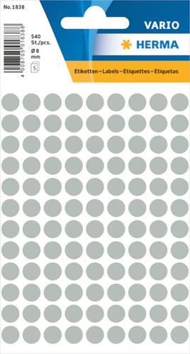 Herma 1838 Universele Etiketten Ø8 - Grijs