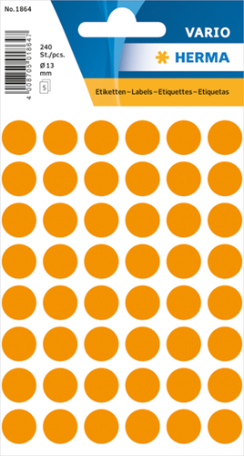 Herma 1864 Universele Etiketten Ø13 - Oranje