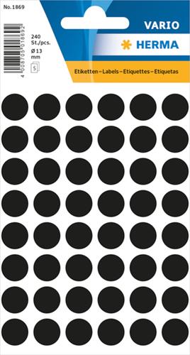 Herma 1869 Universele Etiketten Ø13 - Zwart