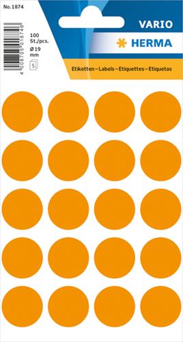 Herma 1874 Universele Etiketten Ø19 - Oranje