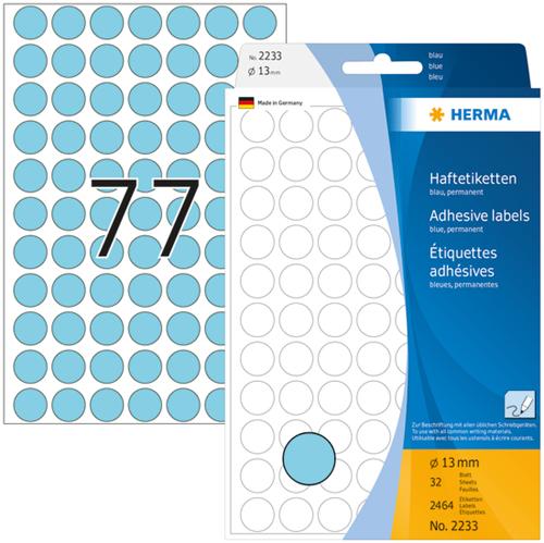 Herma 2233 Universele Etiketten Ø13 - Blauw