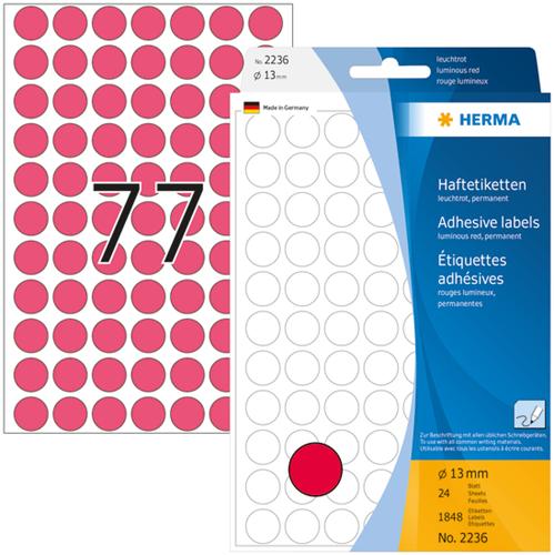 Herma 2236 Universele Etiketten Ø13 - Roze