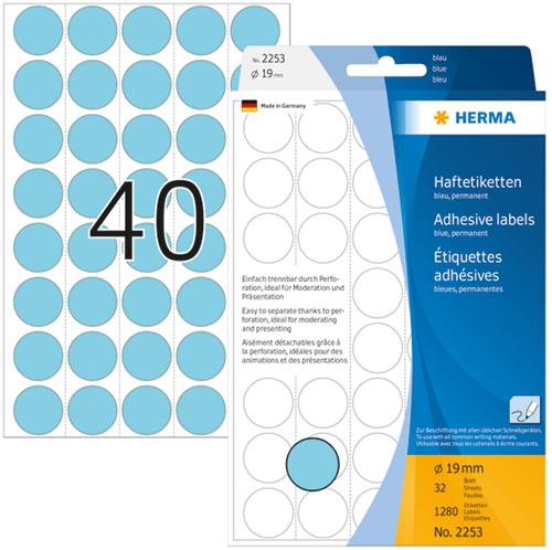 Herma 2253 Universele Etiketten Ø19 - Blauw