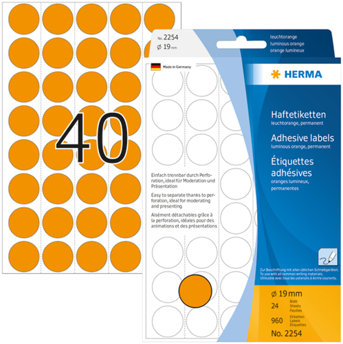 Herma 2254 Universele Etiketten Ø19 - Oranje