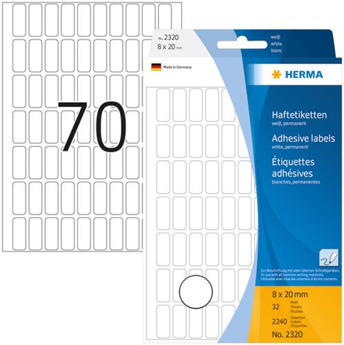 Herma 2320 Universele Etiketten 8 x 20 mm - Wit