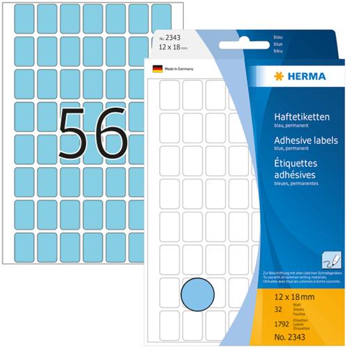 Herma 2343 Universele Etiketten 12 x 18 mm - Blauw