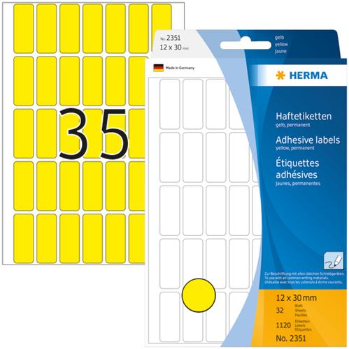 Herma 2351 Universele Etiketten 12 x 30 mm - Geel