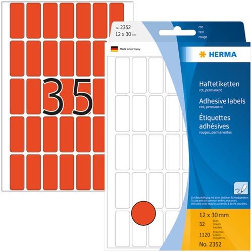 Herma 2352 Universele Etiketten 12 x 30 mm - Rood