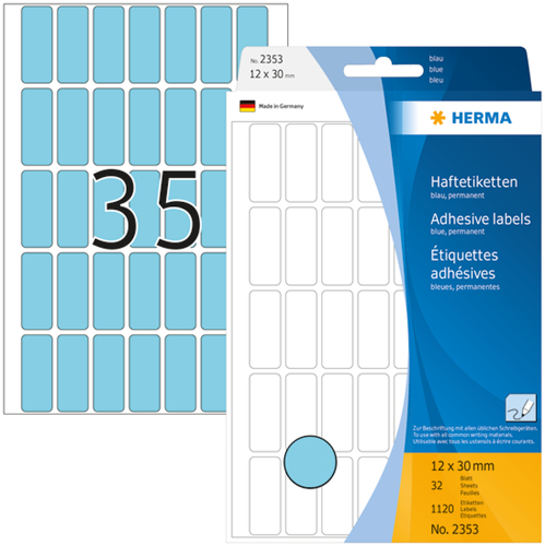 Herma 2353 Universele Etiketten 12 x 30 mm - Blauw