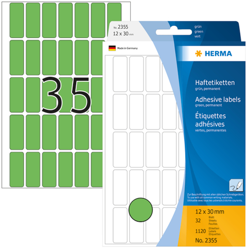 Herma 2355 Universele Etiketten 12 x 30 mm - Groen