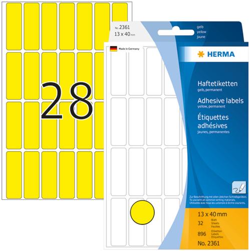 Herma 2361 Universele Etiketten 13 x 40 mm - Geel