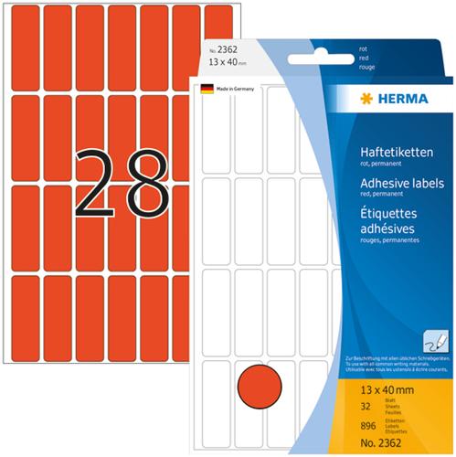 Herma 2362 Universele Etiketten 13 x 40 mm - Rood