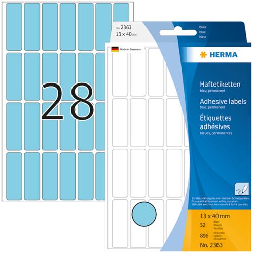 Herma 2363 Universele Etiketten 13 x 40 mm - Blauw