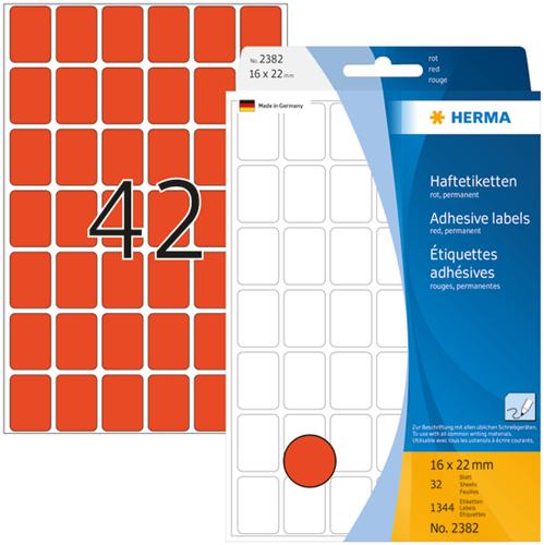 Herma 2382 Universele Etiketten 16 x 22 mm - Rood