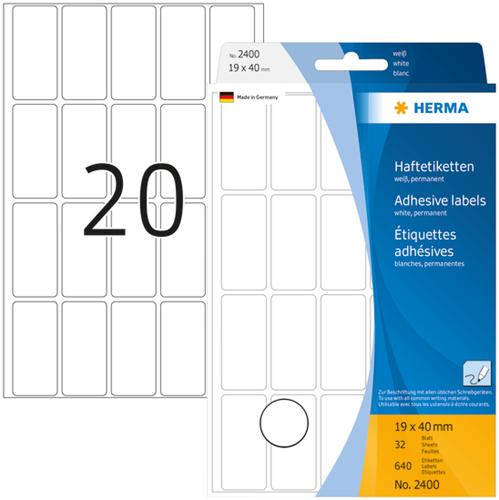 Herma 2400 Universele Etiketten 19 x 40 mm - Wit