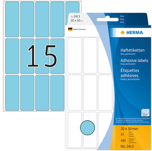 Herma 2413 Universele Etiketten 20 x 50 mm - Blauw