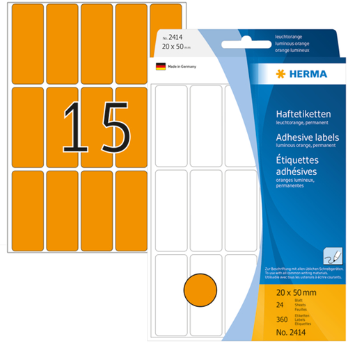 Herma 2414 Universele Etiketten 20 x 50 mm - Oranje
