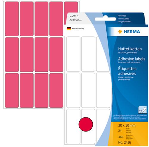 Herma 2416 Universele Etiketten 20 x 50 mm - Roze