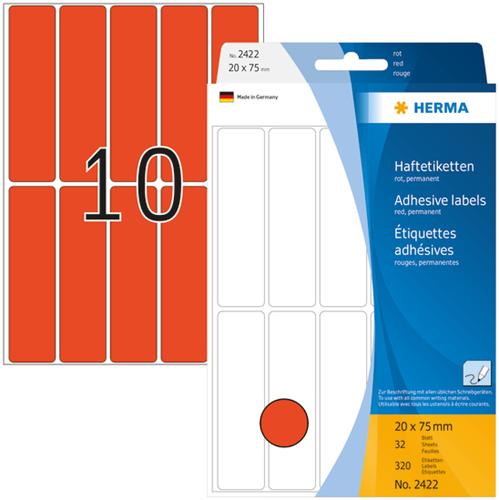 Herma 2422 Universele Etiketten 20 x 75 mm -  Rood