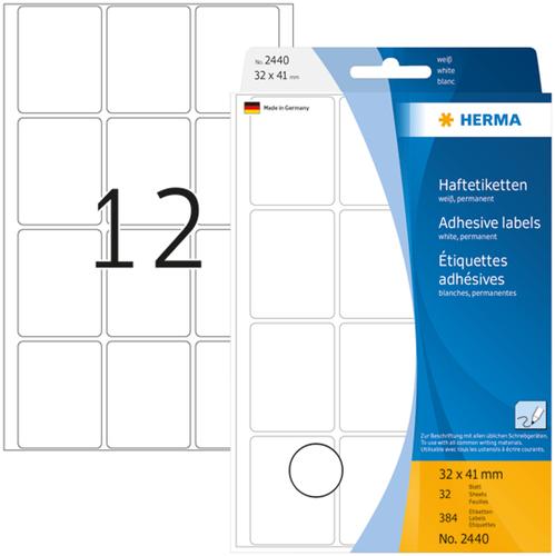 Herma 2440 Universele Etiketten 32 x 41 mm - Wit