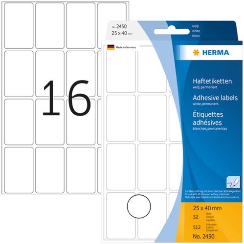 Herma 2450 Universele Etiketten 25 x 40 mm - Wit