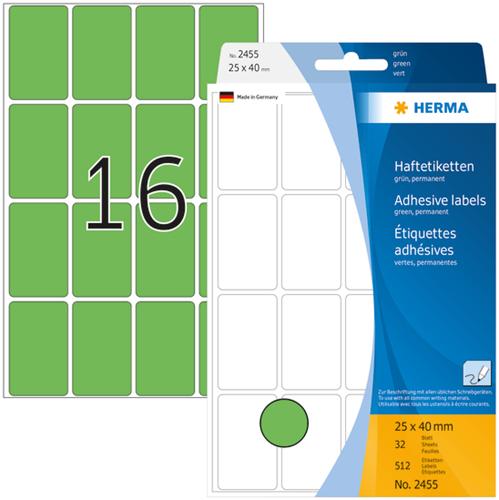 Herma 2455 Universele Etiketten 25 x 40 mm - Groen