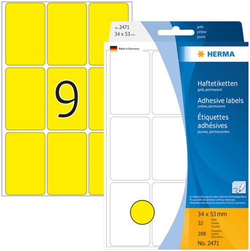 Herma 2471 Universele Etiketten 34  x 53 mm - Geel