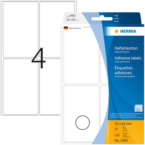 Herma 2490 Universele Etiketten 52 x 82 mm - Wit