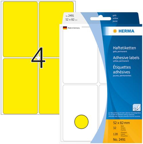 Herma 2491 Universele Etiketten 52 x 82 mm - Geel