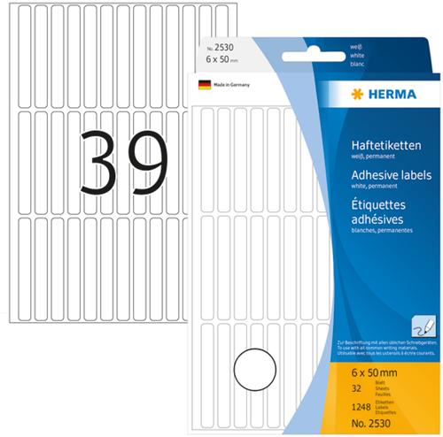 Herma 2530 Universele Etiketten 6 x 50 mm - Wit
