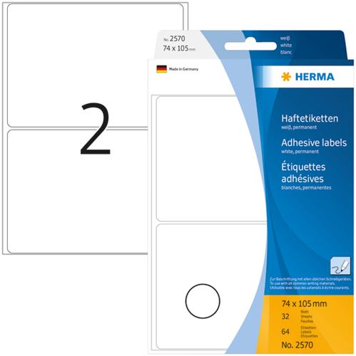 Herma 2570 Universele Etiketten 74 x 105 mm - Wit