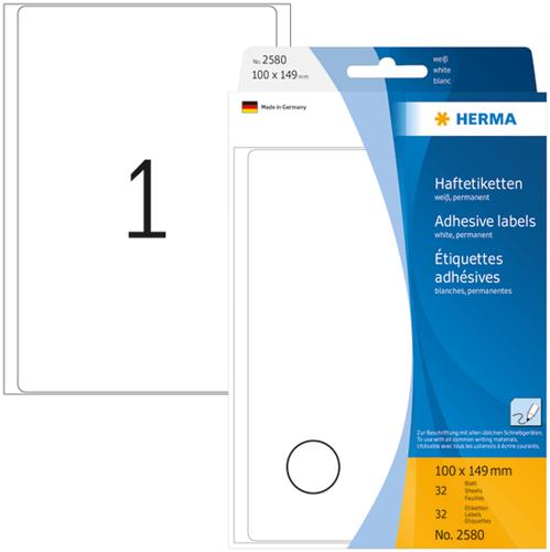 Herma 2580 Universele Etiketten 100 x 149 mm - Wit