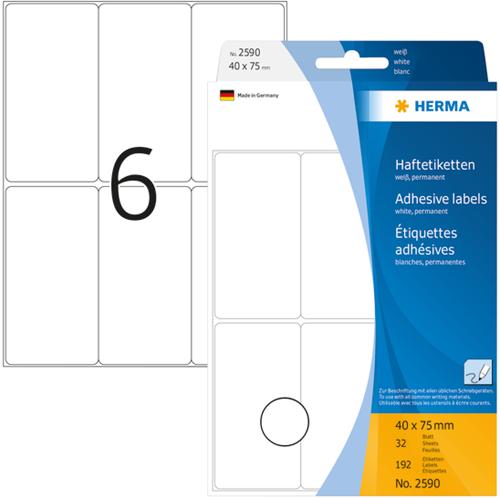 Herma 2590 Universele Etiketten 40 x 75 mm - Wit
