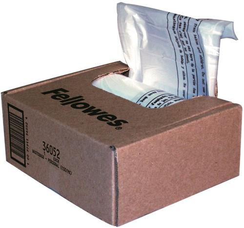 Opvangzakken Fellowes® papierversnipperaars tot 30 liter, doos à 100 stuks