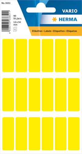 Herma 3651 Universele Etiketten 12 x 34 mm - Geel