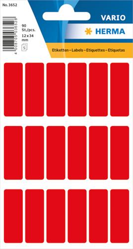 Herma 3652 Vario Universele Etiketten 12 x 34 mm - Rood