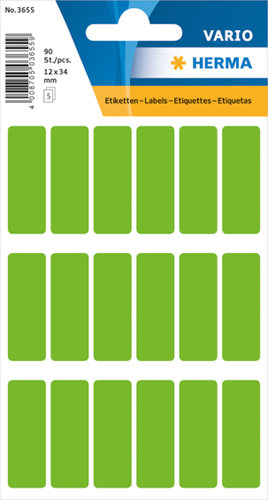 Herma 3655 Vario Universele Etiketten 12 x 34 mm - Groen