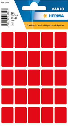 Herma 3662 Vario Universele Etiketten 15 x 20 mm - Rood