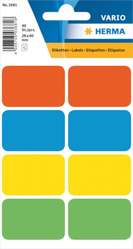 Herma 3681 Vario Universele Etiketten 26 x 40 mm - Kleur