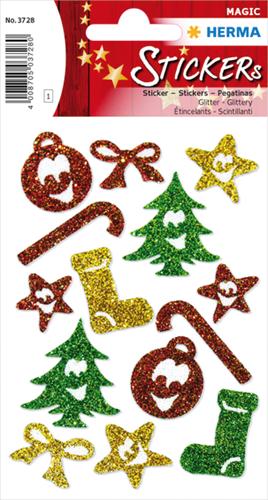 Herma 3728 Sticker Magic Kerst Symbolen - Glitter