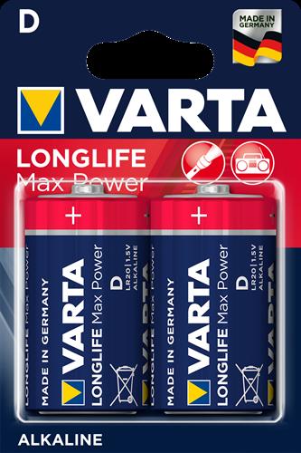 Batterij Varta Longlife Max Power Blister 2xD