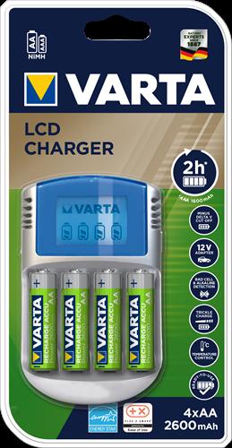 Batterij oplader Varta LCD Charger 4xAA 2600mAh+12V+USB
