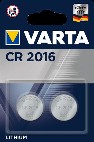Batterij Varta knoopcel CR2016 lithium blister a 2stuk