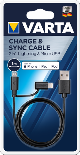 Batterijen Varta 2in1 Charge & Sync Cable Micro USB + Lightning
