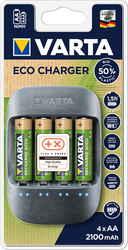 Batterij oplader Varta Eco Charger incl. 4x AA 2100 mAh Recycled