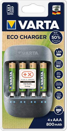 Batterij oplader Varta Eco Charger incl. 4x AAA 800 mAh Recycled